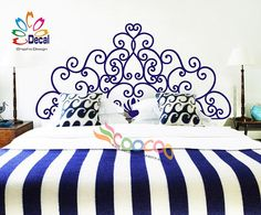 Headboard Decal Vinyl Wall Decal Headboard Wall Sticker King Queen Full Twin Wall decals are currently one of the hottest trends in home… Headboard Decal, Twin Headboard, Wall Decals For Bedroom, Wall Decal Sticker, Wall Stickers, Headboards, Kings & Queens, Decoration, Interior Design Living Room