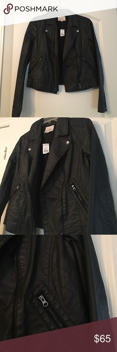 Moto Jacket / Leather Jacket NWT - beautiful black faux leather like jacket. Super cool and edgy ! Would look AWESOME with black moto leggings (see my other listing) brand new never worn ! Paid $100 for it ! Super sexy! LOFT Jackets & Coats