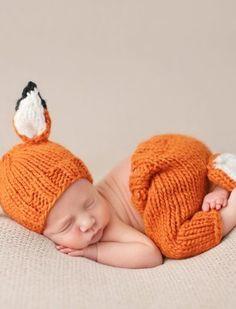 Baby Fox Knit Pants and Hat Set #giftsforbaby #babygift #newborn #fox #newbornphotoprops #nellieandbean