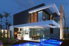 A 4 Bedroom House with 312 m² at Avenida Alphaville - Cuiabá, Mato Grosso, Brazil. Villa Design, Modern House Design, Residential Architecture, Contemporary Architecture, Architecture Design, Design Exterior, Modern Exterior, Future House, Building Design