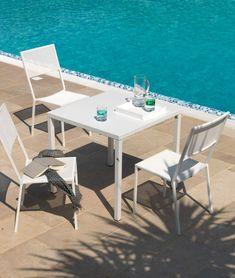 Table square stackable Conrad 80 x 80 H 75 - Unopiù Table Furniture, Garden Furniture, Tall Stools, Design Tisch, Low Stool, Square Tables, Garden Table, Sun Lounger, Contemporary Design