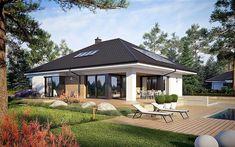 Dom z poddaszem do późniejszej adaptacji: Tanita II Bungalow House Plans, Bungalow House Design, One Storey House, Best Western, Building A House, Gazebo, Sweet Home, New Homes, Outdoor Structures