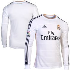 Da Sports Fans Shop: adidas Real Madrid CF 201314 Home Long Sleeve Jersey White