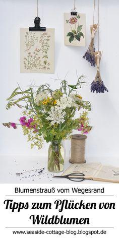 Wie du deine gepflückten Blumen von der Wiese sicher nach Hause bringst und lange Freude an ihnen hast Cottage, Bouquet, Seaside, Glass Vase, Table Decorations, Inspiration, Blog, Home Decor, Wild Flowers