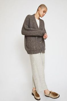 Lauren Manoogian Grandma Cardigan in Barnwood Oversized Knit Cardigan, Clog Boots, Leather Clogs, Knitwear, Knit Crochet, Normcore, Pullover, Clothes For Women, Knitting