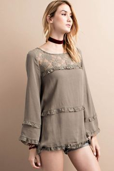 Long Bell Sleeve Lace and Gauze Mix Tunic