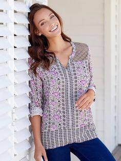 Lace shoulder floral shirt