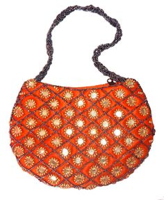INDIAN HANDMADE ETHNIC HAND EMBROIDERED MIRROR BEADS SATIN PURSE WOMEN BAG #Handmade #EveningBag