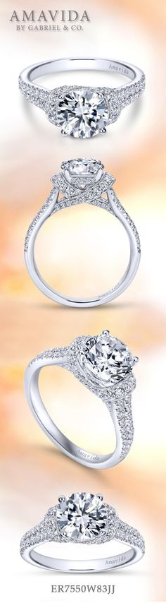 Gabriel NY - Voted #1 Most Preferred Fine Jewelry and Bridal Brand. 18k White Gold Round Straight  Engagement Ring
