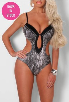 Angie Black and Grey Snake Effect Swimsuit