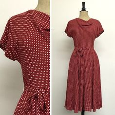 BACK IN STOCK!! - Megan Dress - Tea Length - Red Hot Dots - French Rayon Crepe