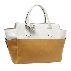 """MG Collection MIRA Boat Shape Top Handle Handbag / Tote Purse - White & Caramel. Designer inspired dual-tone tote purse, leatherette exterior and strap-and-buckle decorative accents. Features a roomy, fabric-lined interior with 2 slip pockets and 1 zippered pocket. Easy to carry using the 2 sturdy top handles. **Official MG Collection® product by MyGift® features signature keychain charm**. Approximate Dimensions: Exterior - 18"""" W X 6.5"""" D X 10"""" H; Interior - 18"""" W X 6.5"""" D X 7.5"""" H…"""