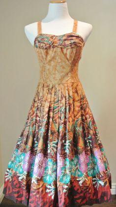 VTG 1950s SHAHEEN Dress Hibiscus Hawaiian Tiki Sundress MEDIUM alfred pinup 50's #AlfredShaheen