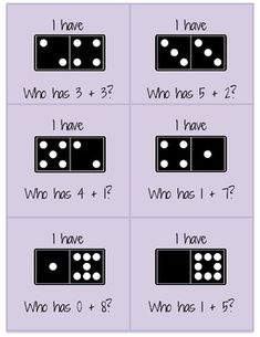 """""""I Have, Who Has"""" Domino Addition Game CreativelyCharming.Blogspot.com Math Work, Fun Math, Math Activities, Therapy Activities, Math Classroom, Kindergarten Math, Teaching Math, Teaching Ideas, Addition Games"""