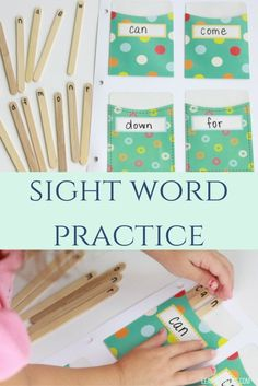 sight word pockets made with library pockets, great for pre-k and learning at home