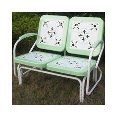 Retro Outdoor Glider Vintage Bench Patio Chair Outside Furniture Mint Green Yard Patio Rocking Chairs, Wicker Chairs, Lawn Chairs, Metal Chairs, Metal Tables, Green Chairs, Adirondack Chairs, Outdoor Glider, Patio Glider
