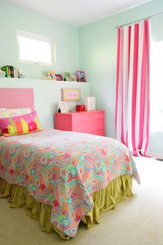 Colorful kids room (with painted furniture, a homemade headboard, and no-sew curtains)