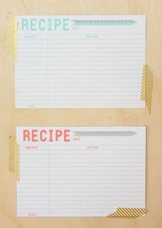 printable: recipe cards free.... http://feelinglovesome.blogspot.com/2012/03/printable-recipe-cards.html