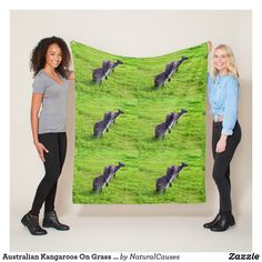 Australian #kangaroos On Grass Med Fleece #blanket