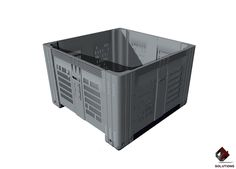 E4-3004 CONTENEDOR SUPER BIN 780 CALADO Apilable hasta 3000 kg. en temperatura de 35 ºC, más de un mes y hasta 2000 kg. más de un año. Dimensiones: 116.5 cm. x 116.5 cm x 78 cm. x Profundidad: 64,5 cm. Rejilla de ventilación: 1152. Capacidad Volumétrica: 755 Lts. Soporte de carga: 43 kg. Acceso de montacargas: 2. Peso apilable Max.: 500 kg en todos los modelos.  Colores: Amarillo, Verde, Azul y Gris.