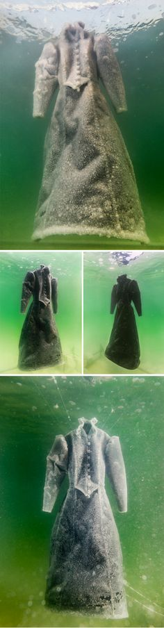 A 19th Century Dress Submerged in the Dead Sea Becomes Gradually Crystallized with Salt