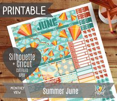 Summer June Monthly View Stickers, Printable Planner, EC 2017 Stickers, Summer June Overview, June Monthly - CUT FILES