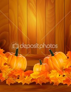 Download - Pumpkins on wooden background with leaves Autumn background Vector — Stock Illustration #12780894