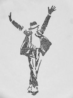 Michael Jackson: silhouette made from the lyrics on Etsy, $15.00