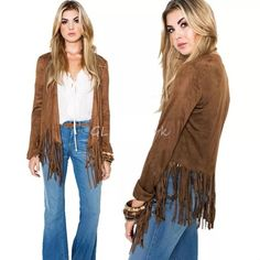 "RESERVED  Holly New in package. Brown Fringe Tassel Boho JacketSize XLLength 28 3/4""Bust 44.09""Shoulder 17""Sleeves 26""I'm offering 30% off 2 items or more OR 4/$20 on the red dot items. Also, you can use the red dot items to make my discount of 30% off 2 items or more kick in  LAST ONE, RESERVE YOURS TODAY ✔️ Boutique Jackets & Coats Capes"