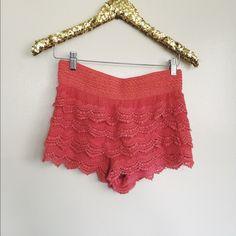 crochet coral shorts S/M Shorts