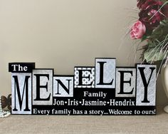 Check out this item in my Etsy shop https://www.etsy.com/ca/listing/385766652/family-name-wood-blocks-anniversary-gift