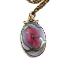 David Lotton Signed 1993 Glass Art Pendant Flower Cameo Pendant Necklace 14K Gold Fused Glass Flower Jewelry Lotton Pendant Signed