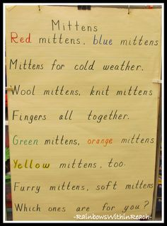 photo of: Winter Mitten Anchor Chart Poem via RainbowsWithinReach Kindergarten Poetry, Kindergarten Photos, Preschool Poems, Preschool Winter, Winter Activities, Preschool Activities, January Poem, Poems About School, Poetry For Kids