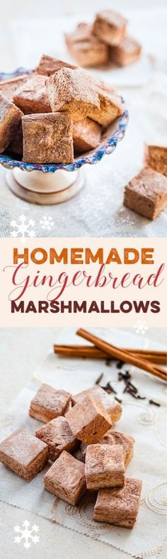 Homemade gingerbread marshmallows are a revelation – wonderfully soft, fluffy and delicious, they make the perfect festive edible gift. Best Dessert Recipes, Candy Recipes, Baking Recipes, Sweet Recipes, Holiday Recipes, Snack Recipes, Snacks, Fudge Recipes, Recipes With Marshmallows