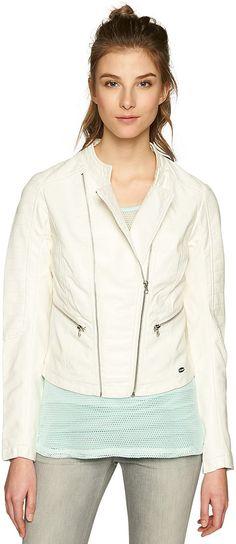 Biker-Jacke in Leder-Optik für Frauen (unifarben, langärmlig mit kleinem Stehkragen und Revers) aus hochwertigem Lederimitat, seitliche Einschubtaschen mit Zippern, mit Zippern für den Biker-Look. Material: 100 % Viskose...