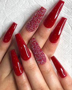 #rednails #glitternails #acrylicnails #longnails  #holidaynails #christmasnails
