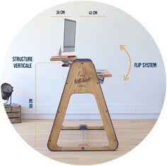Table de bureau design en bois, multi-position.