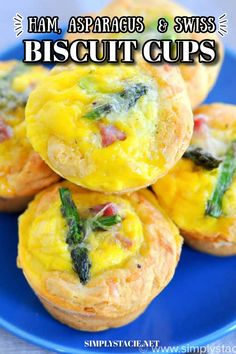 Ham, Asparagus & Swiss Biscuit Cups - These flaky bite-sized biscuits are loaded with ham, Swiss and asparagus, but can be completely customized to your family's taste buds!