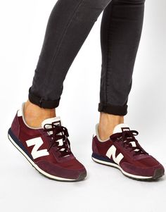 New Balance | New Balance 410 Burgundy Suede And Mesh Sneakers at ASOS