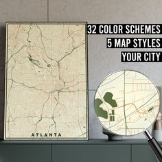 FREE SHIPPING WITHIN EU AND USA  We really love maps. Map prints, map posters, map illustrations. Our map designs consist 32 color schemes and 5 styles to choose from. Maps are very detailed and fully customizable if needed.    #mapprint #mapart #citymap #citymapprint #citymapposter #mapwallart #mapposter Map Posters, City Map Poster, Map Wall Art, Map Art, Atlanta Map, Map Illustrations, Simple Poster, Custom Map, Map Design
