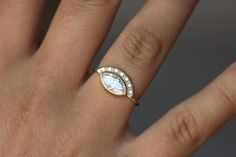 One Carat Marquise Diamond Engagement Ring with Pave by artemer