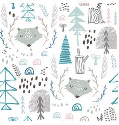 Seamless woodland pattern with wolf heads vector Kid Fonts, Camouflage Patterns, Kids Prints, Stuffed Animal Patterns, Cartoon Styles, Wall Murals, Nursery Decor, Canvas Wall Art, Pattern Design