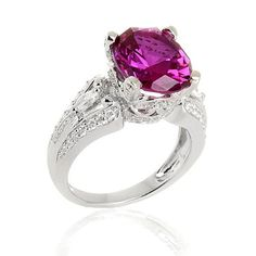 5.30ct Pink Sapphire & VVS1 Diamond White Gold Solitaire Engagement Ring #Diamantjewels #SolitaireRing