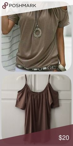NWT Sexy Brown Cold Shoulder T-Shirt I love this cute top! I just bought it and it did not fit! It is a pretty shade of a tanish brown! Boutique Tops Tees - Short Sleeve