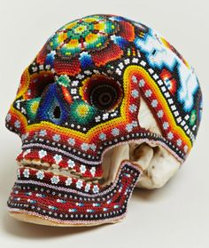 Our Exquisite Corpse   Huichol Beaded Skulls inspiration