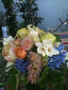 Blushing brides, blue hyacinth, freesia, roses