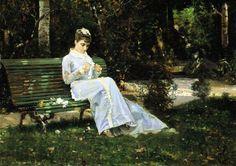 Banti Cristiano  Alaide Banti in giardino, c. 1870