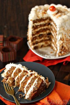 Carrot Cake with Coconut Cream Cheese Buttercream   SugarHero.com