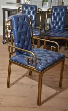 I am drooling. Set of Eight Mastercraft Greek Key Leather Dining Chairs