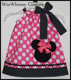 Super Cute Minnie Mouse Applique Dress in Hot pink dot 0-3m - 5t from Wee Whimsy Couture on Storenvy